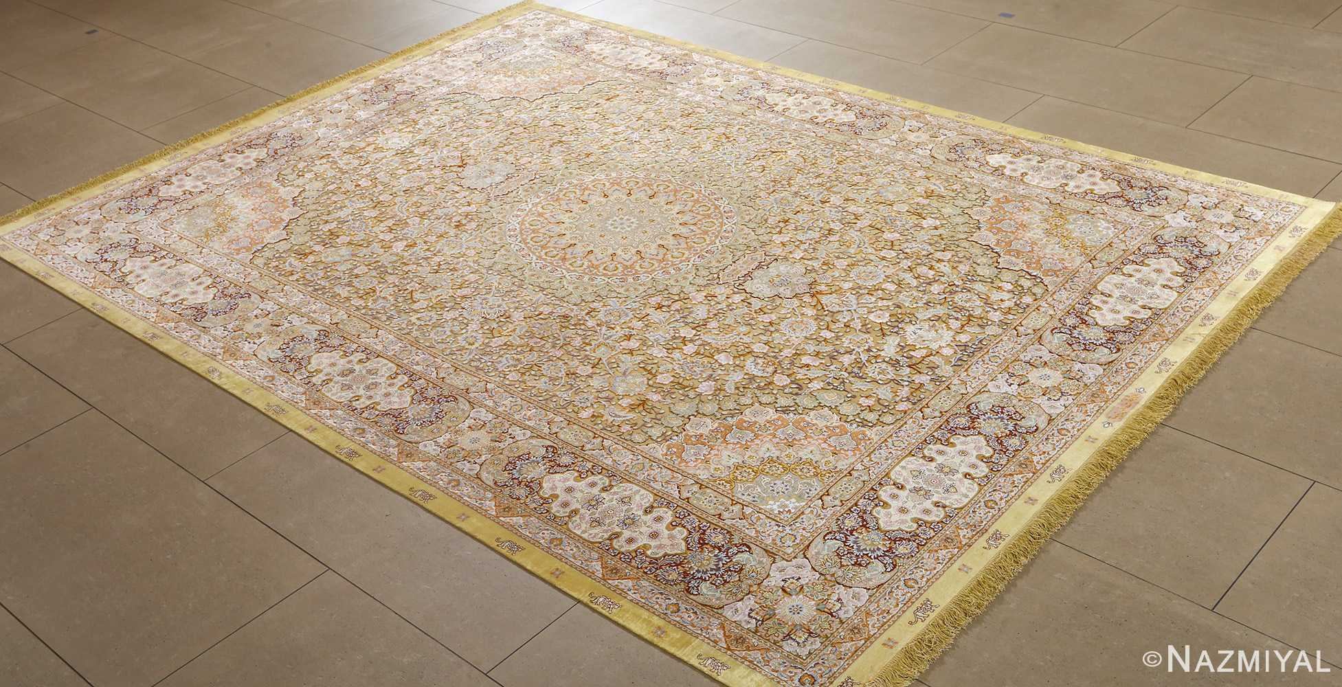fine silk and gold thread vintage tabriz persian rug 51056 side Nazmiyal