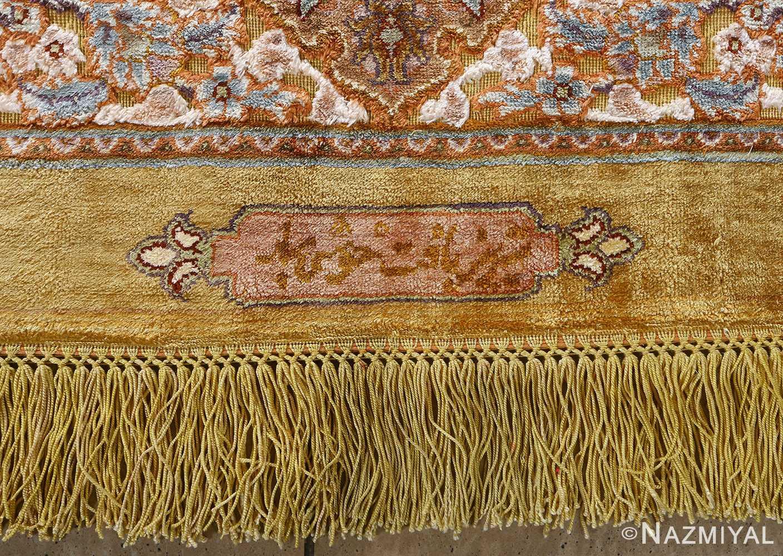 fine silk and gold thread vintage tabriz persian rug 51056 signature Nazmiyal