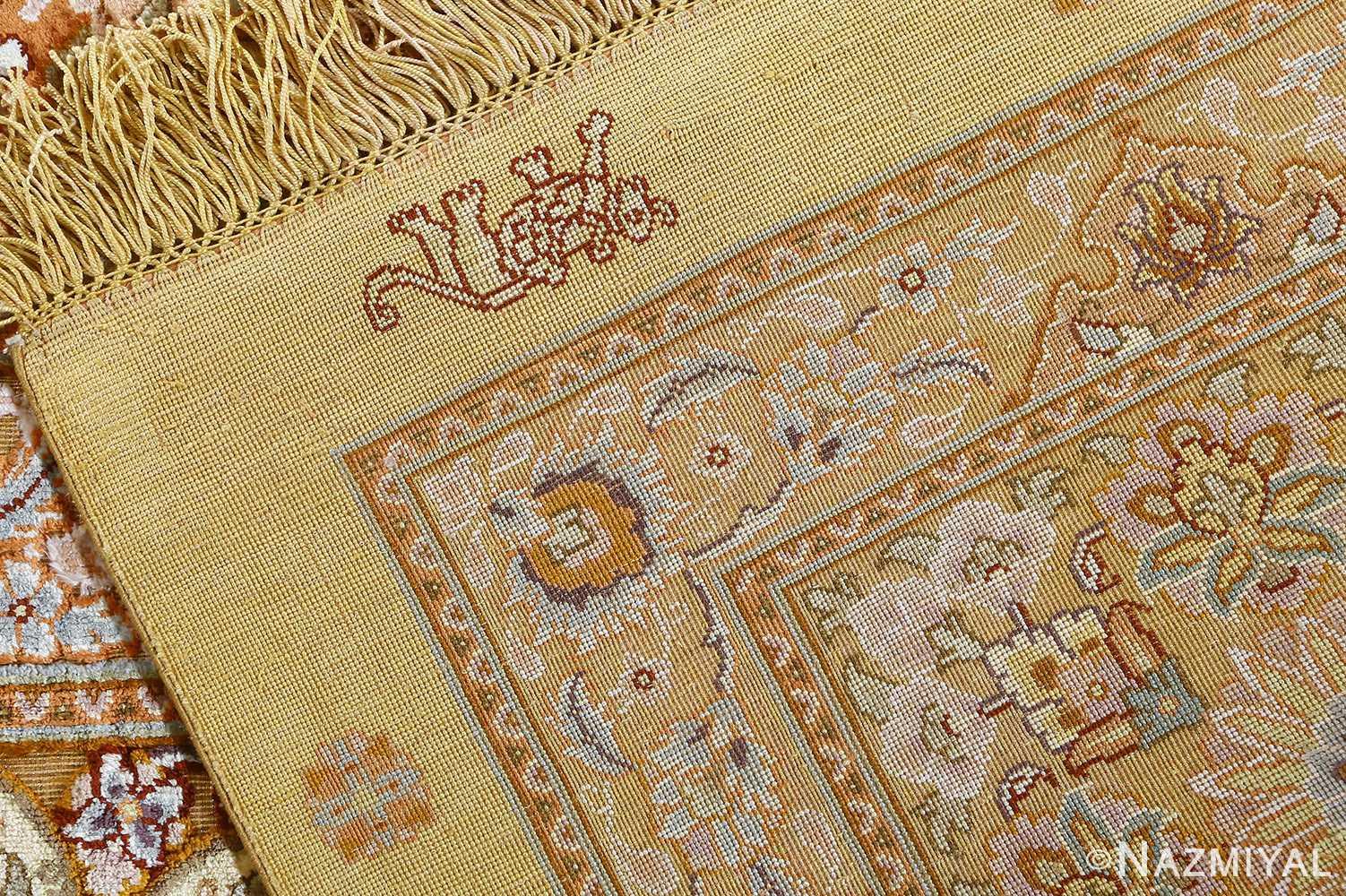 fine silk and gold thread vintage tabriz persian rug 51056 weave Nazmiyal