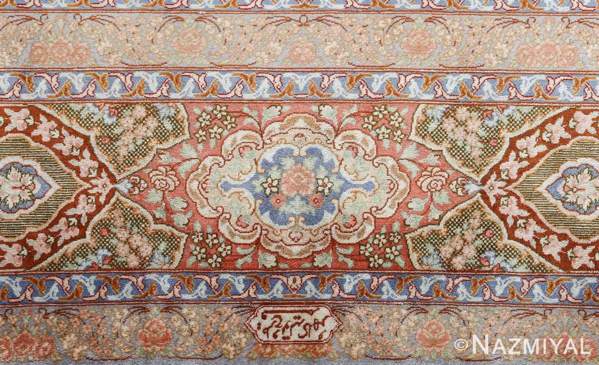 fine silk vintage qum persian rug 51052 border Nazmiyal