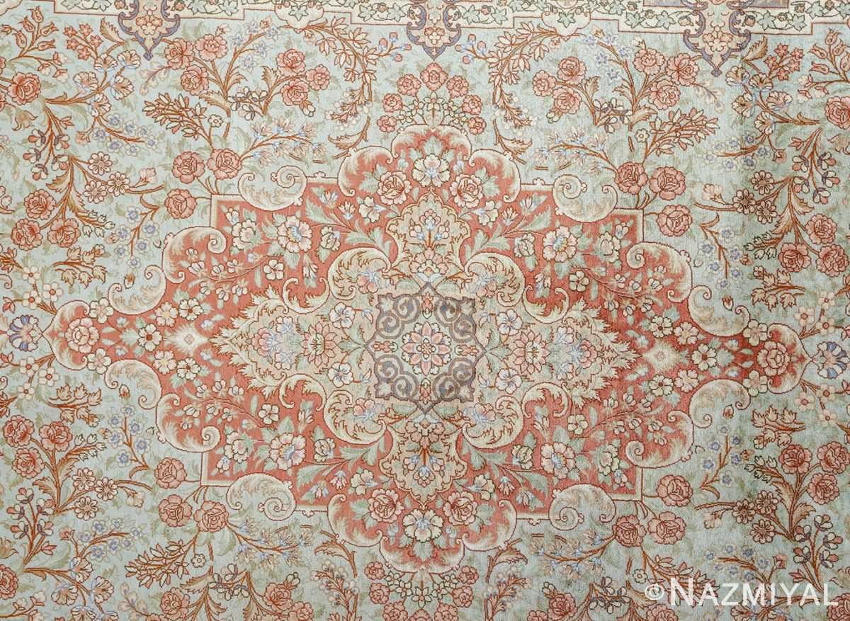 fine silk vintage qum persian rug 51052 center Namziyal