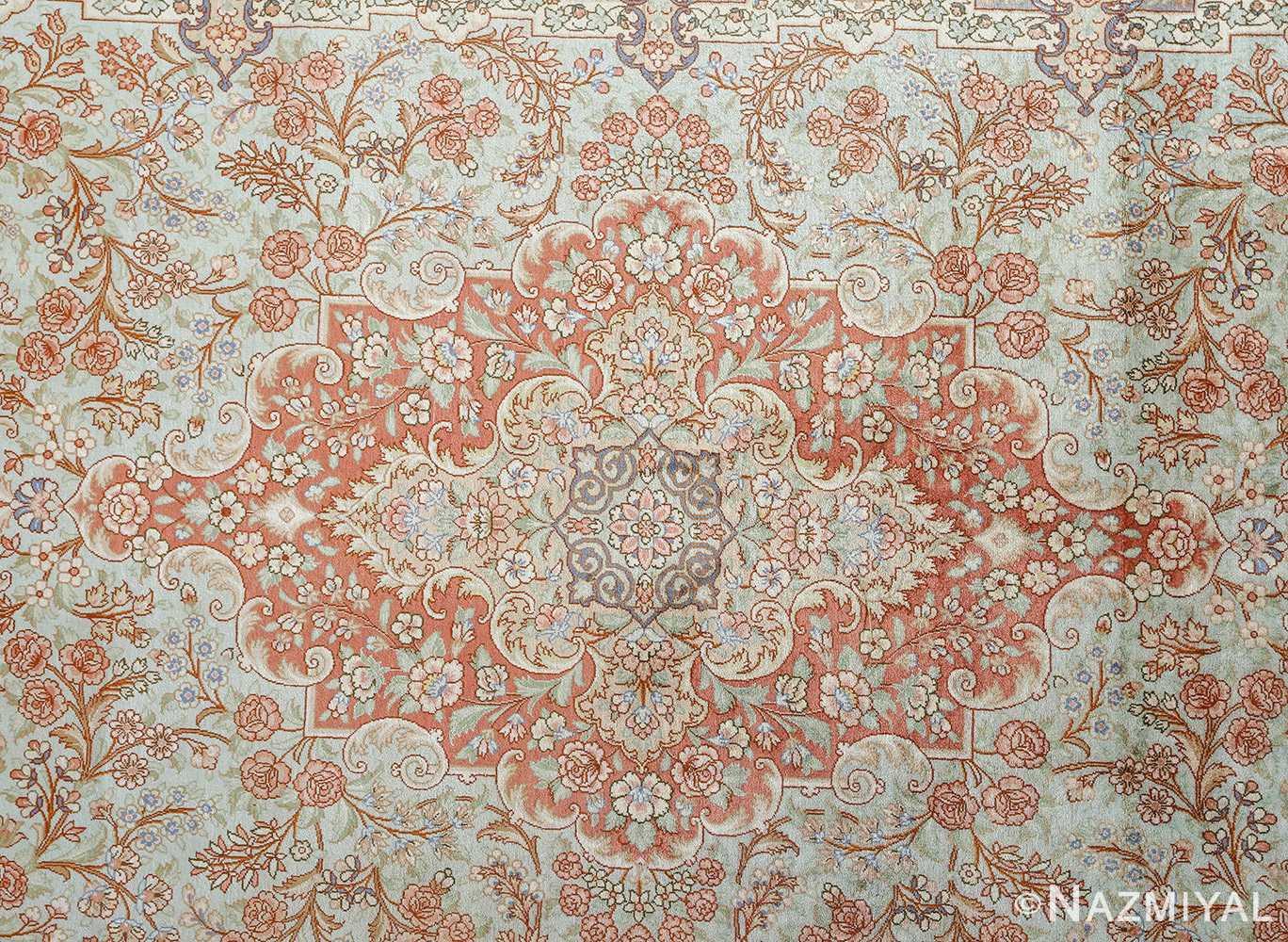 fine silk vintage qum persian rug 51052 center Namziyal