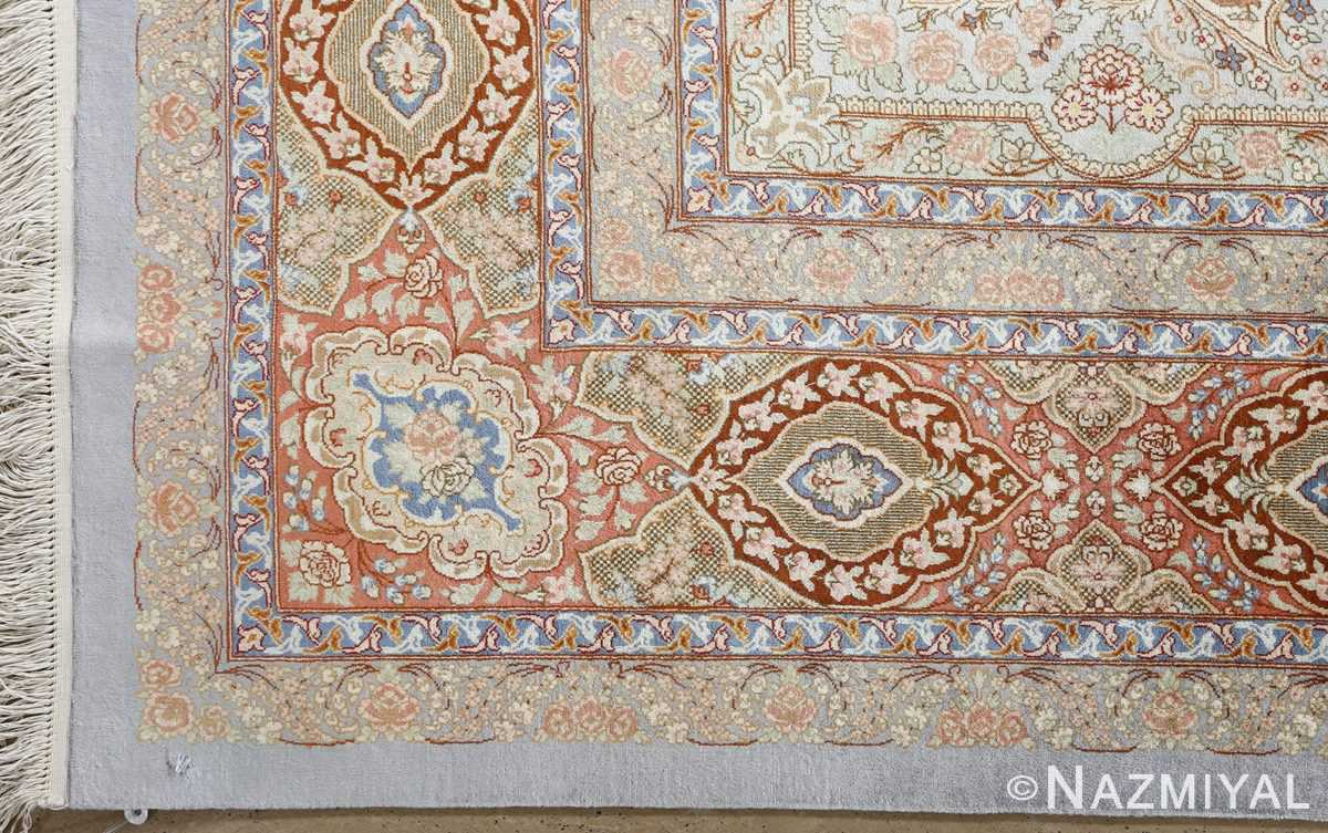 fine silk vintage qum persian rug 51052 corner Namziyal