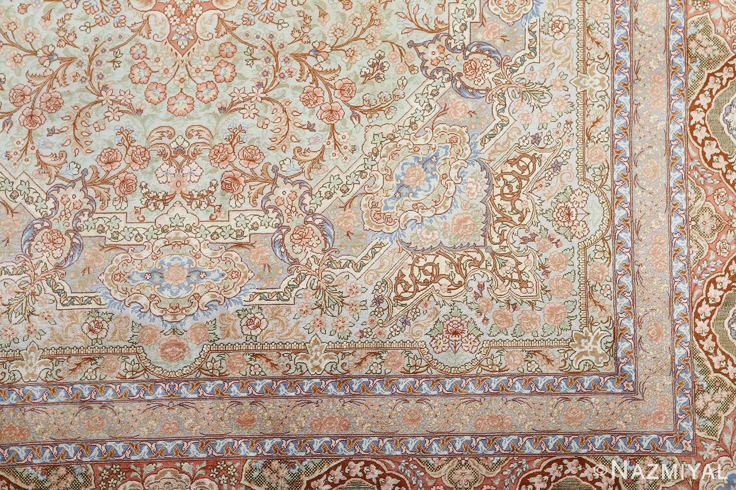 fine silk vintage qum persian rug 51052 design Namziyal
