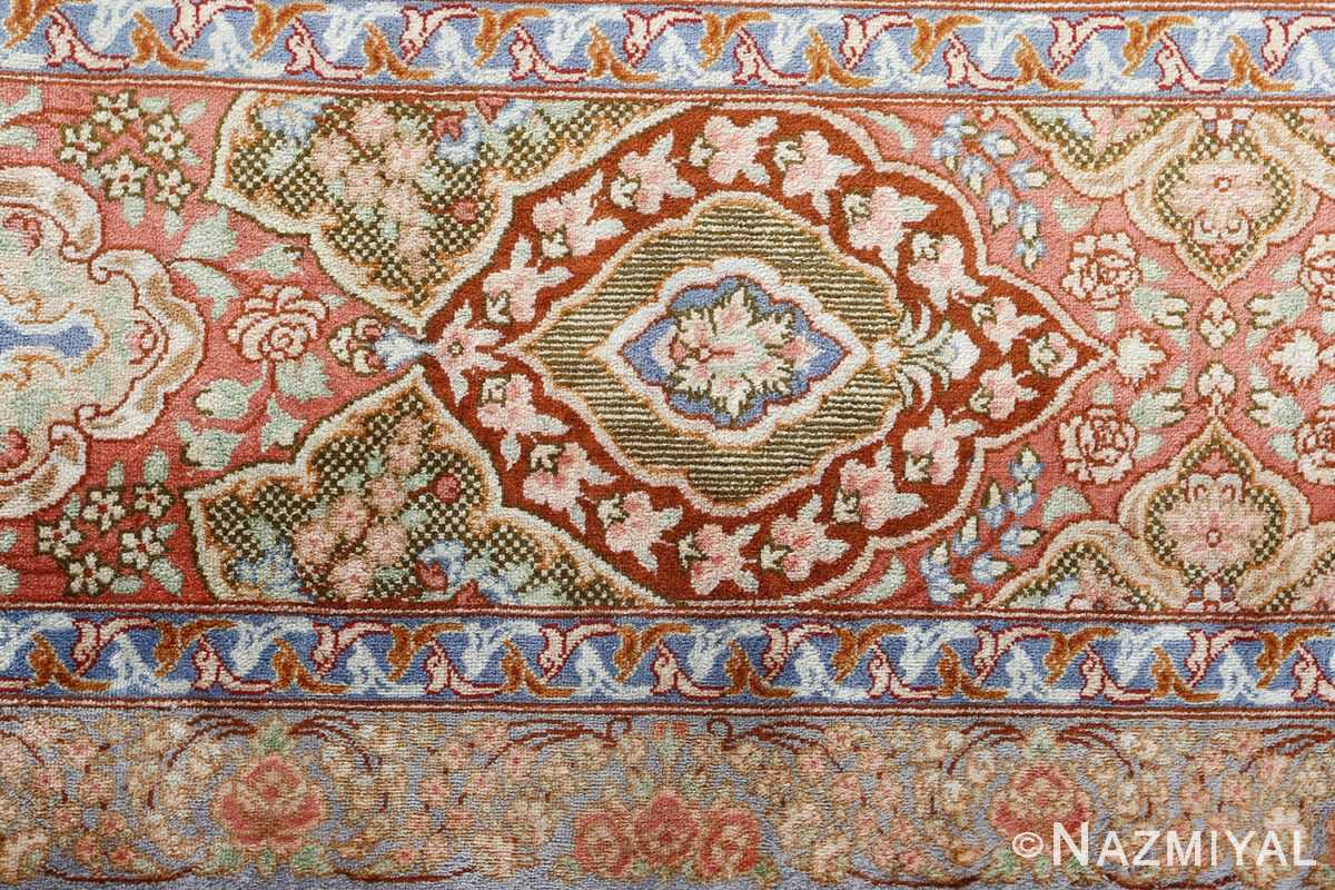 fine silk vintage qum persian rug 51052 detailed Namziyal