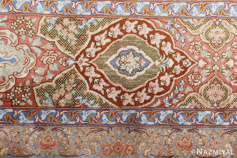 fine silk vintage qum persian rug 51052 detailed Namziyal