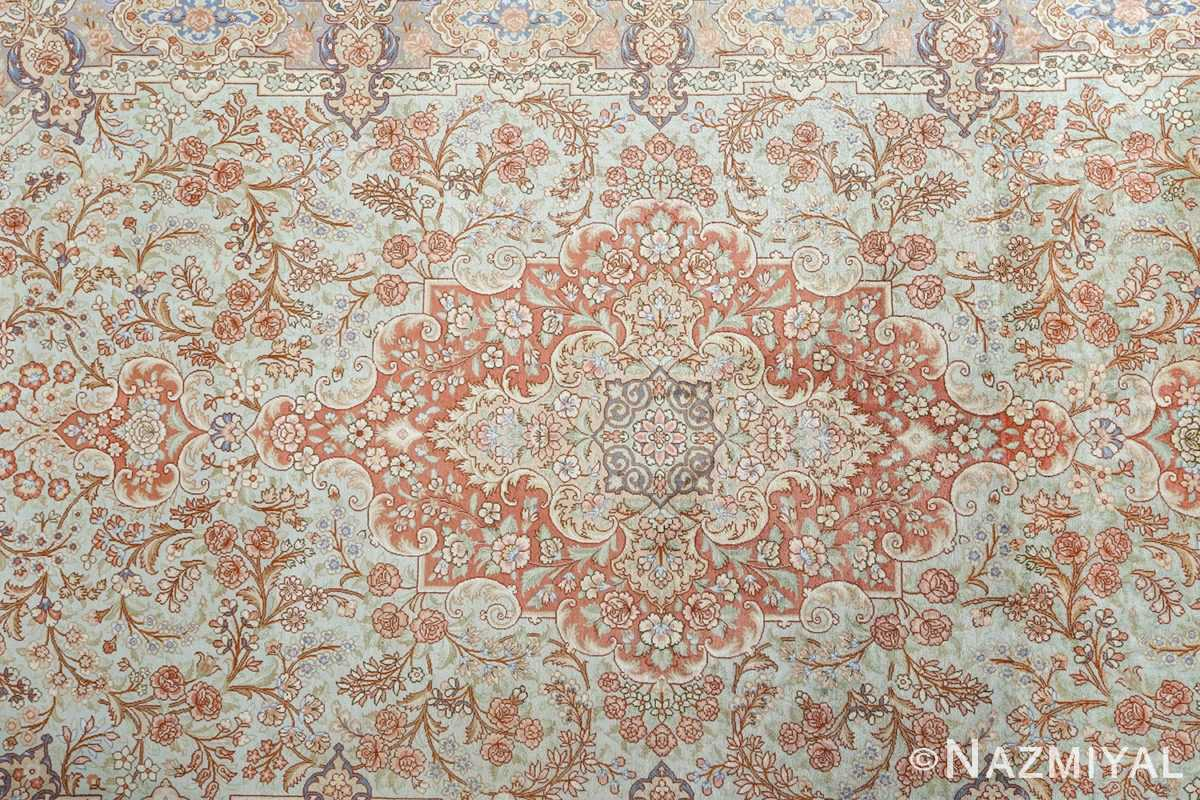 fine silk vintage qum persian rug 51052 medallion Namziyal