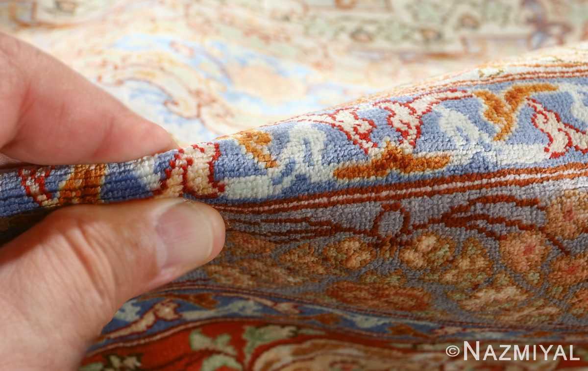 fine silk vintage qum persian rug 51052 pile Namziyal