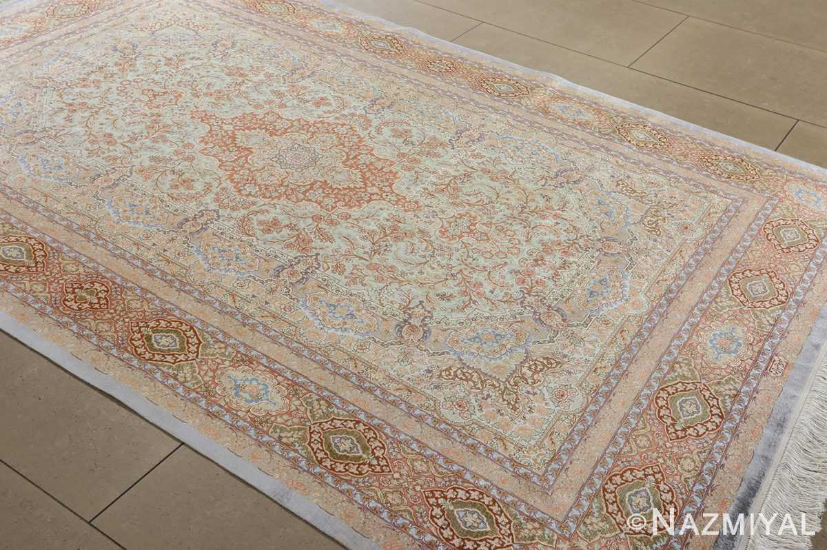 fine silk vintage qum persian rug 51052 side Namziyal