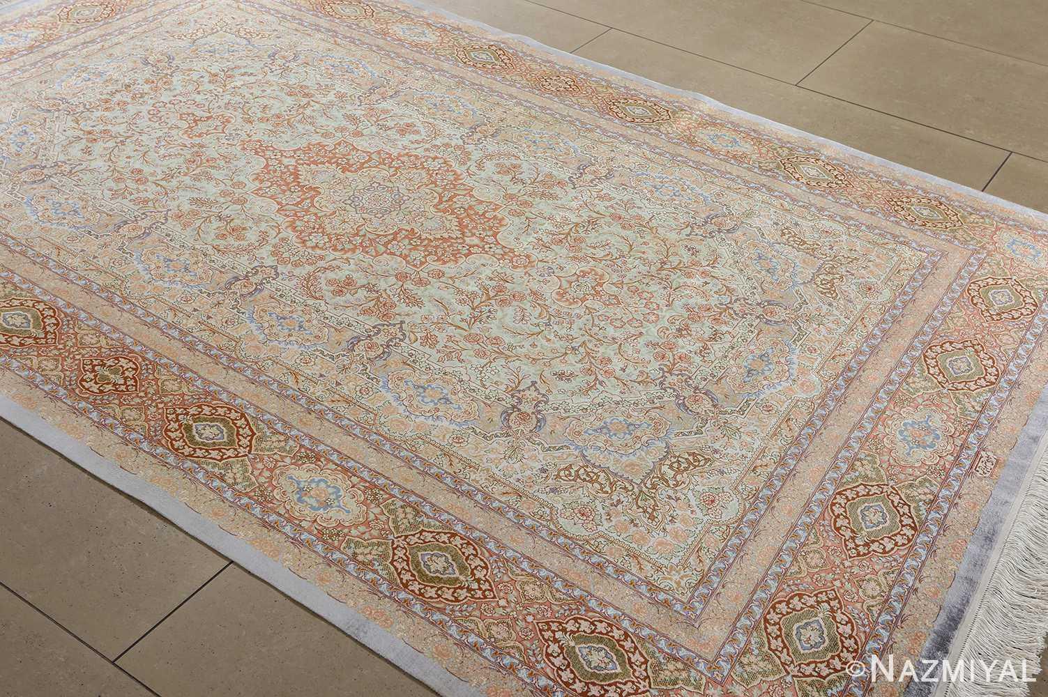 fine silk vintage qum persian rug 51052 side Namziyal