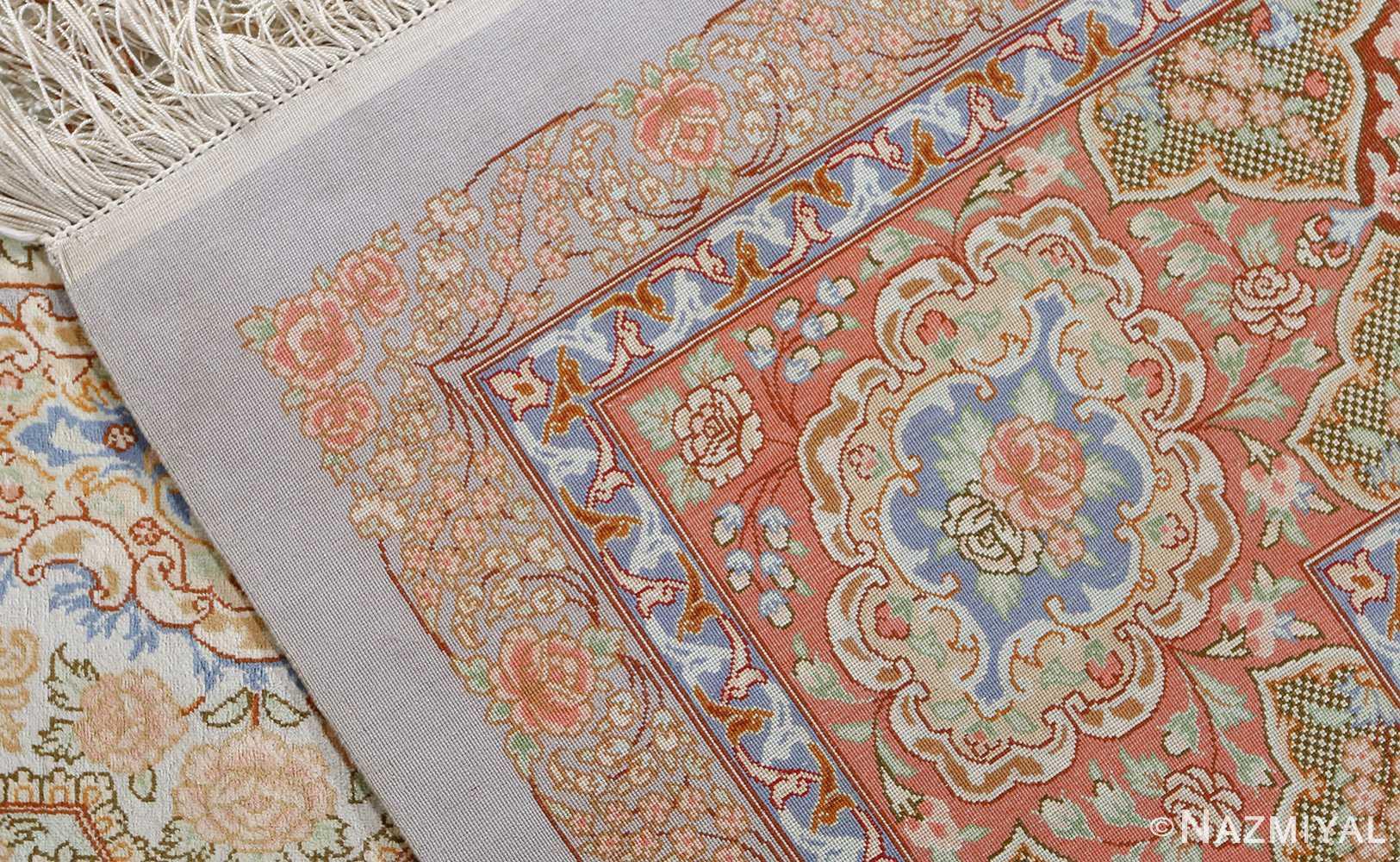 fine silk vintage qum persian rug 51052 weave Namziyal