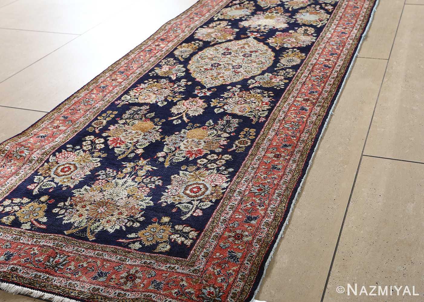 fine silk vintage qum persian rug runner 51059 side Nazmiyal
