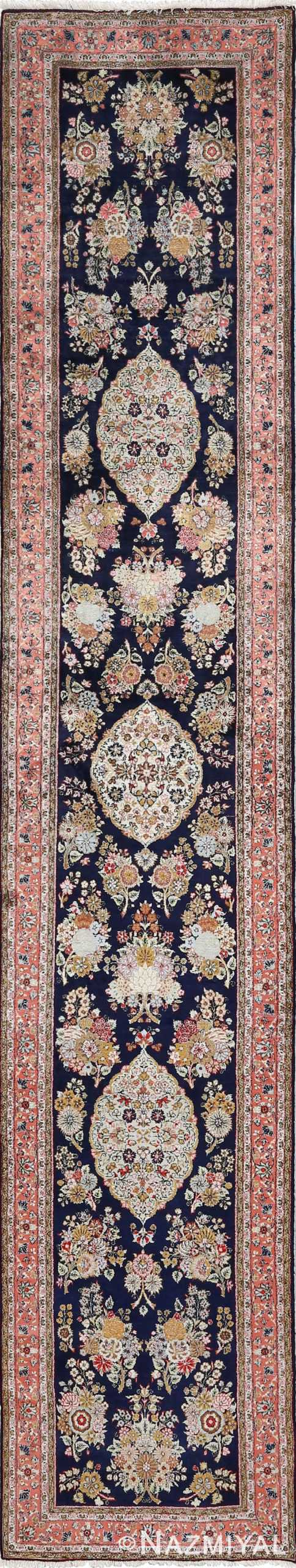 fine silk vintage qum persian rug runner 51059 Nazmiyal