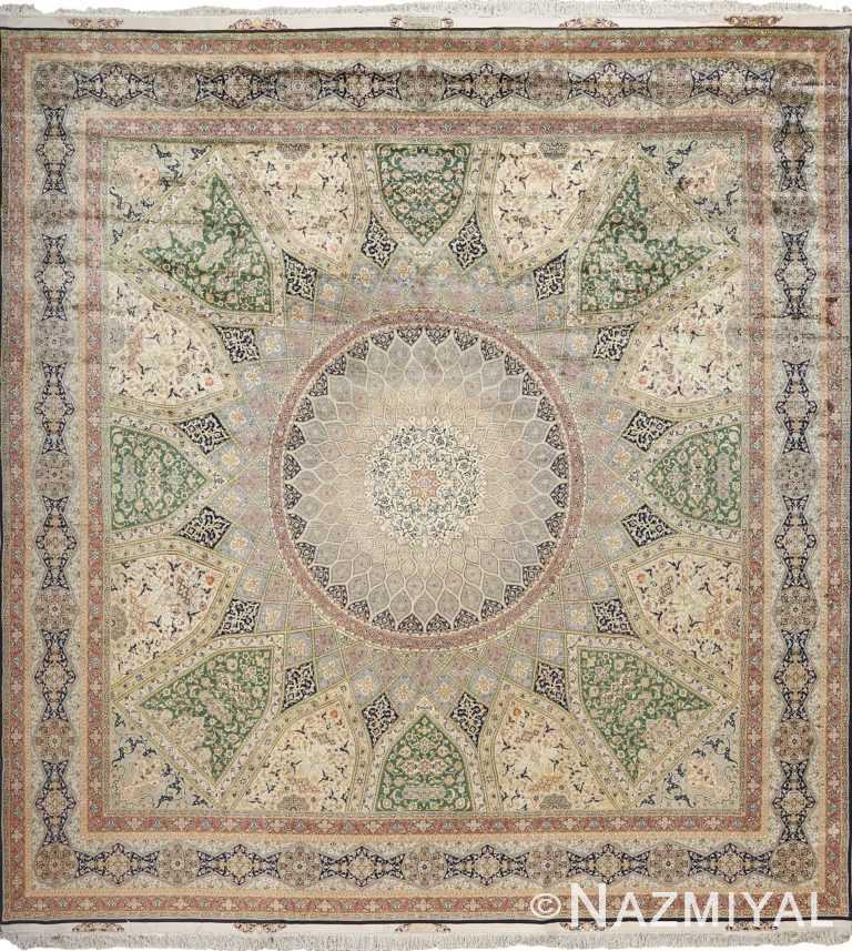 fine square gonbad design vintage silk tabriz persian rug 51050 Nazmiyal