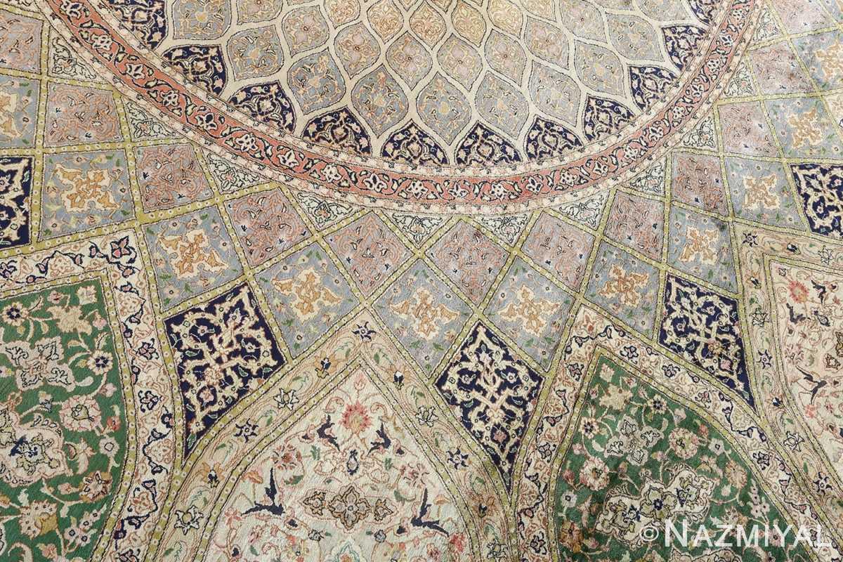 fine square gonbad design vintage silk tabriz persian rug 51050 around Nazmiyal