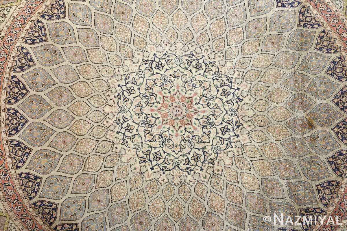 fine square gonbad design vintage silk tabriz persian rug 51050 center Nazmiyal