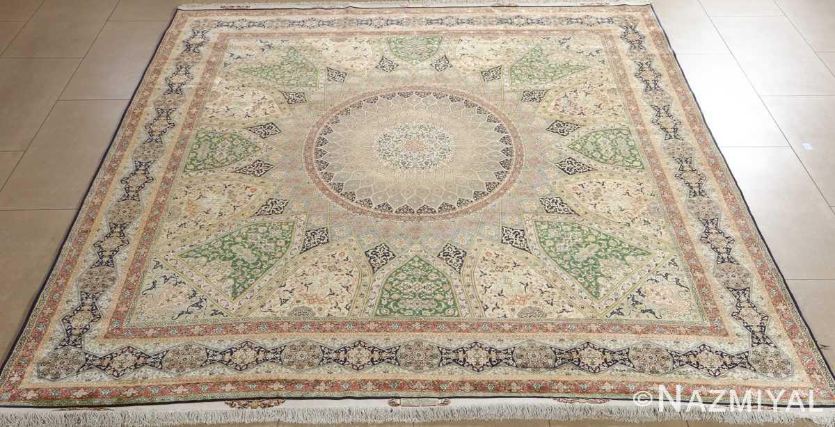 fine square gonbad design vintage silk tabriz persian rug 51050 full Nazmiyal