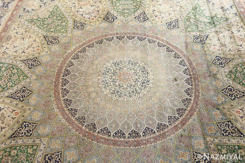 fine square gonbad design vintage silk tabriz persian rug 51050 medallion Nazmiyal