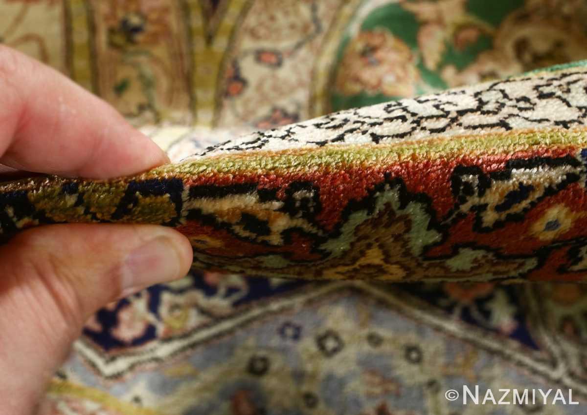 fine square gonbad design vintage silk tabriz persian rug 51050 pile Nazmiyal