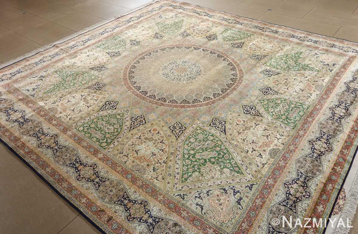 fine square gonbad design vintage silk tabriz persian rug 51050 side Nazmiyal