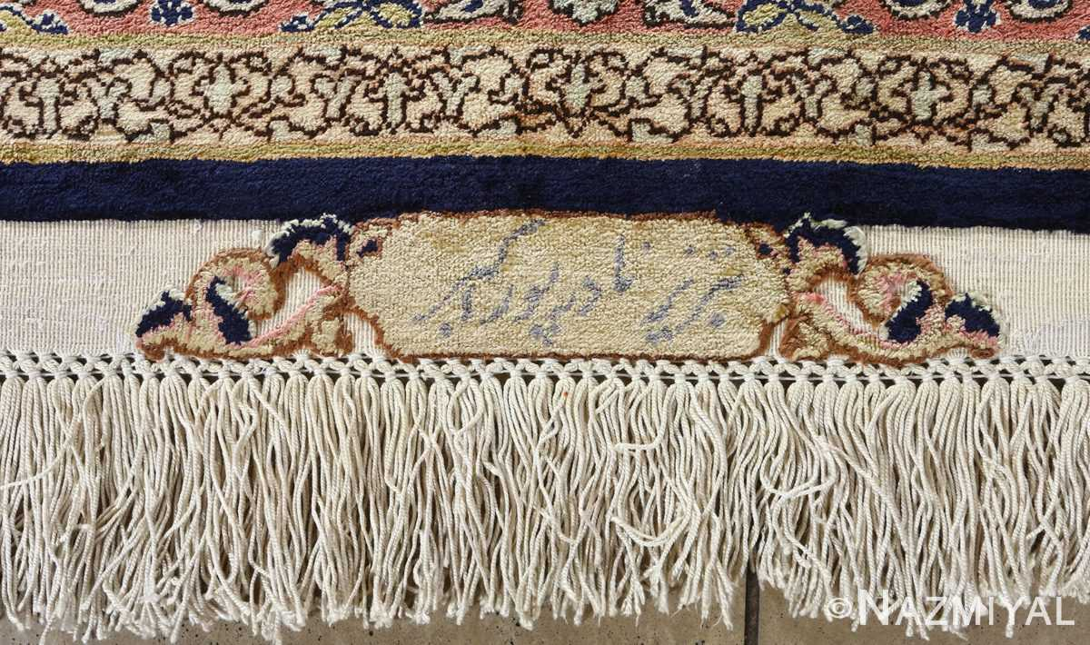 fine square gonbad design vintage silk tabriz persian rug 51050 signature Nazmiyal