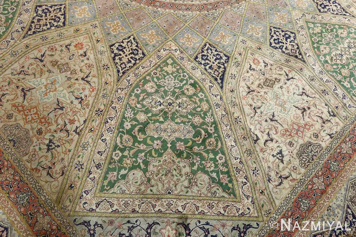 fine square gonbad design vintage silk tabriz persian rug 51050 slimi Nazmiyal