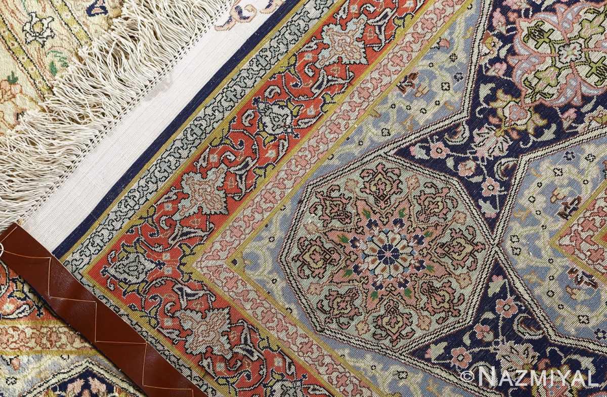 fine square gonbad design vintage silk tabriz persian rug 51050 weave Nazmiyal