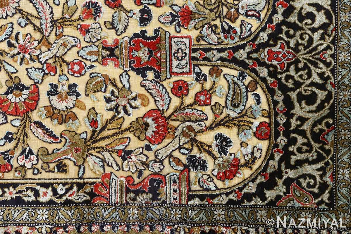 fine tree of life design vintage silk souf qum persian rug 51048 arch Nazmiyal