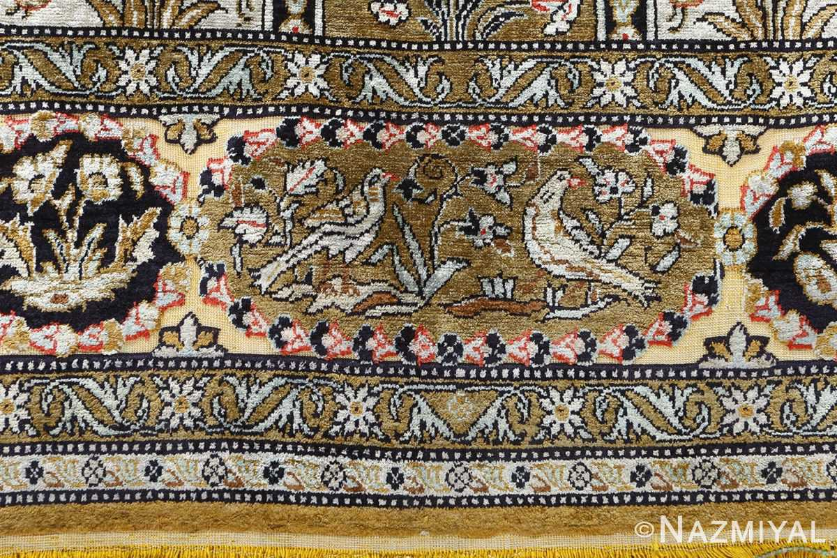 fine tree of life design vintage silk souf qum persian rug 51048 birds Nazmiyal