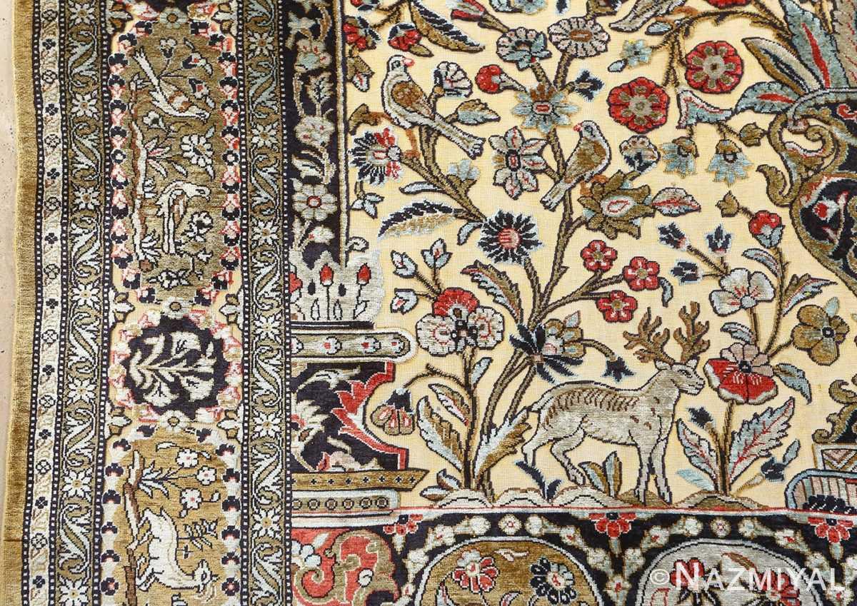 fine tree of life design vintage silk souf qum persian rug 51048 column Nazmiyal
