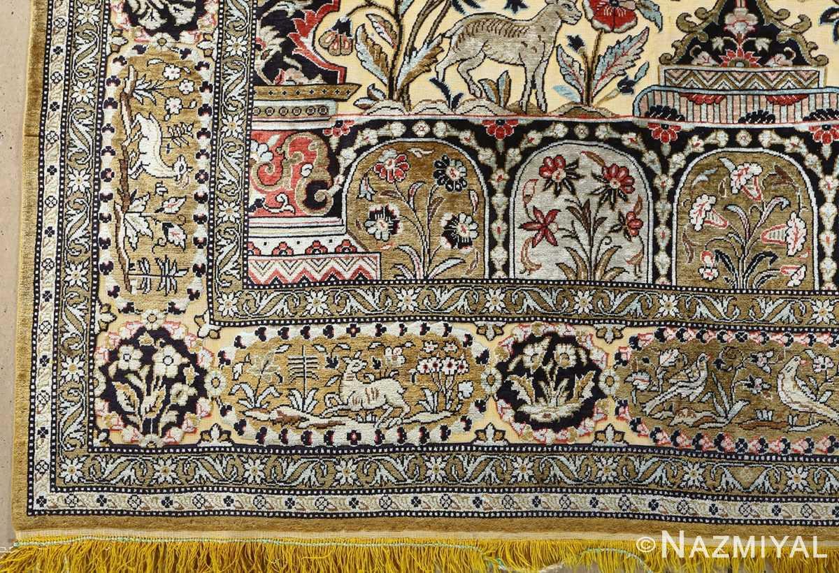 fine tree of life design vintage silk souf qum persian rug 51048 corner Nazmiyal