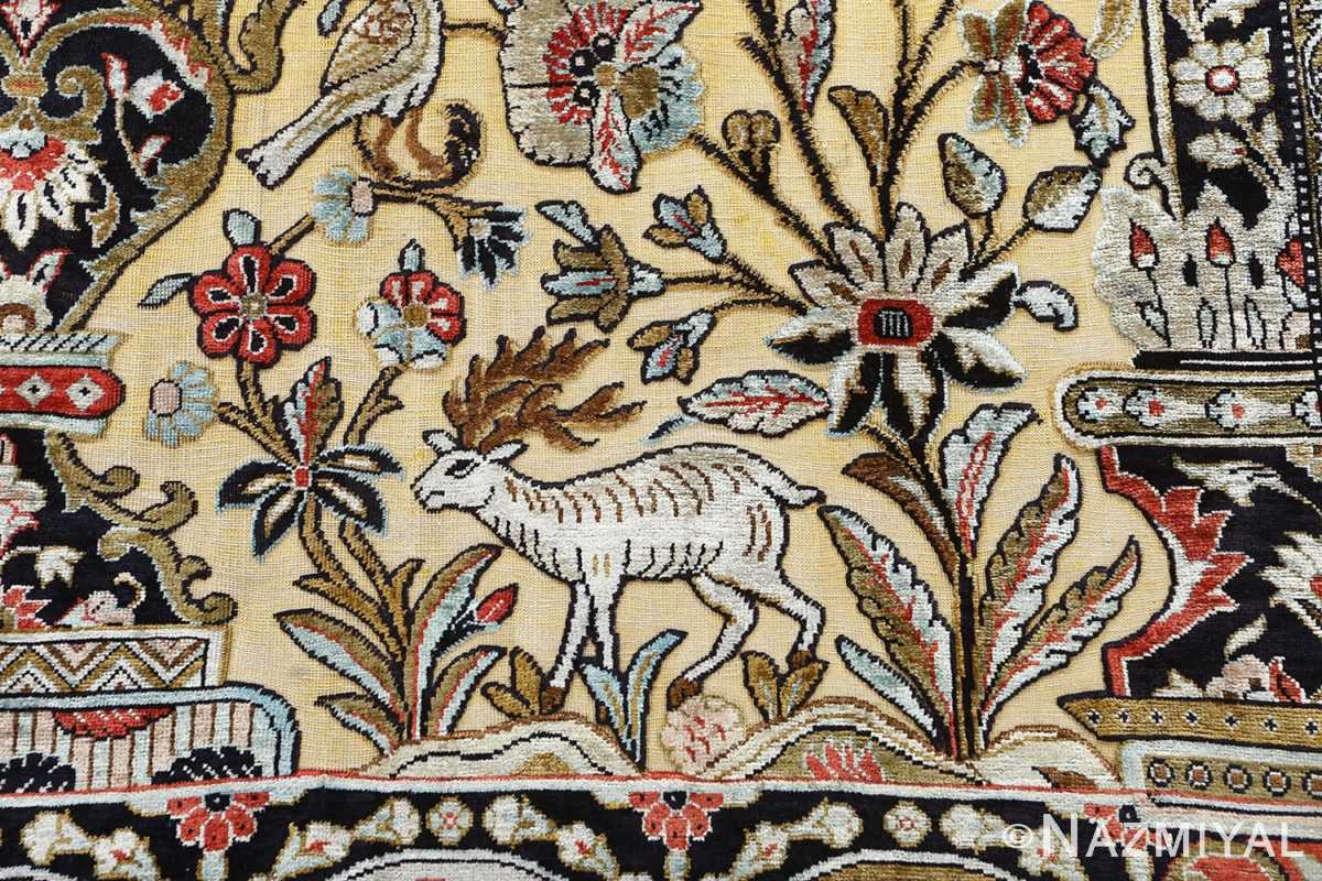 fine tree of life design vintage silk souf qum persian rug 51048 deer Nazmiyal