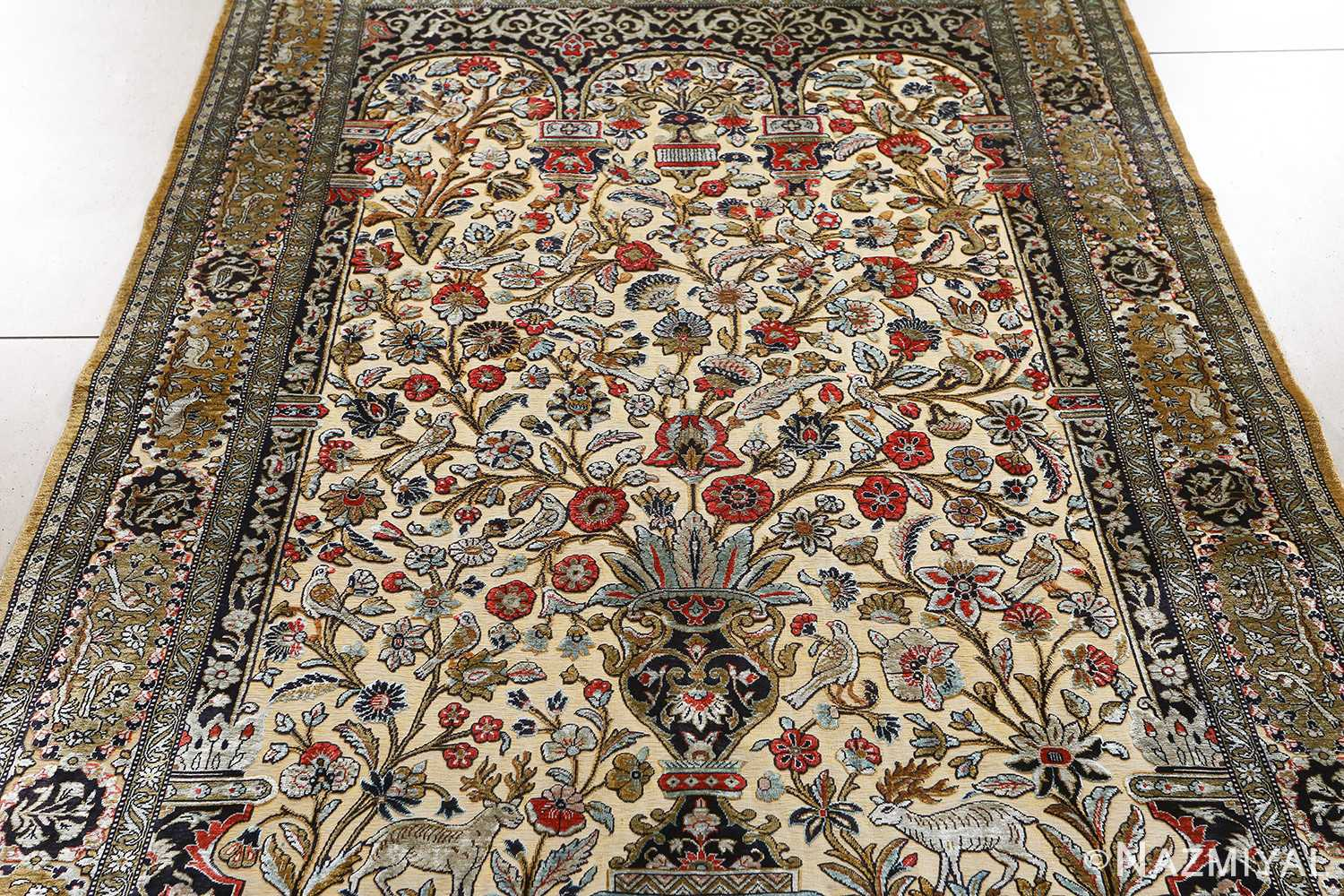 fine tree of life design vintage silk souf qum persia rug 51048 field Nazmiyal