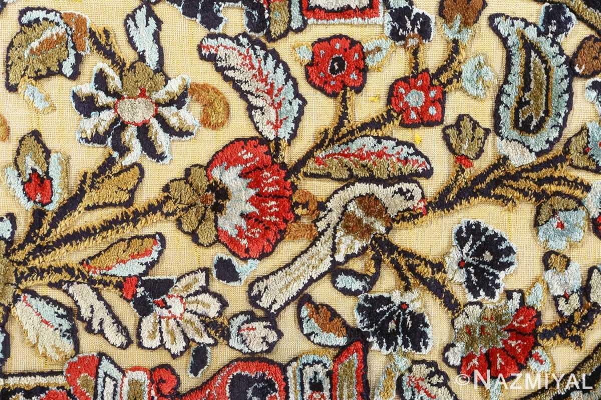 fine tree of life design vintage silk souf qum persian rug 51048 flower Nazmiyal