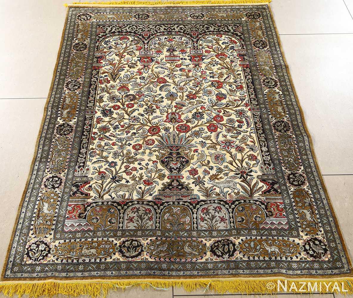 fine tree of life design vintage silk souf qum persian rug 51048 full Nazmiyal
