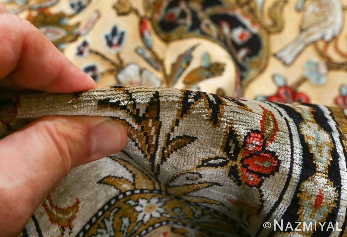 fine tree of life design vintage silk souf qum persian rug 51048 pile Nazmiyal