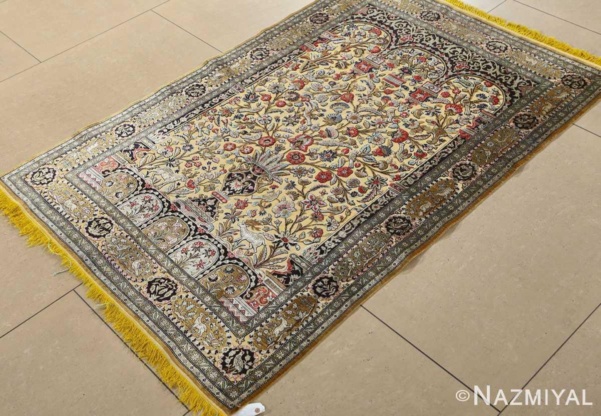 fine tree of life design vintage silk souf qum persian rug 51048 side Nazmiyal