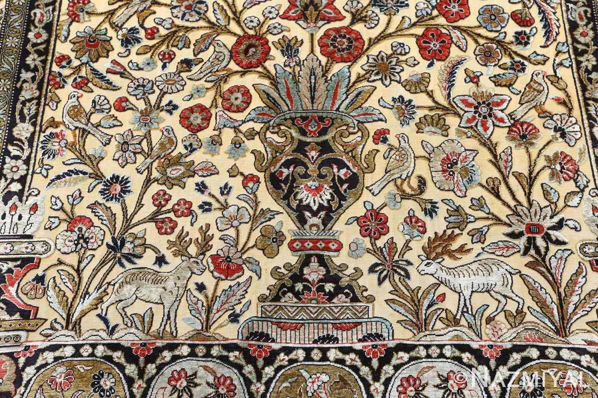 fine tree of life design vintage silk souf qum persian rug 51048 vase Nazmiyal