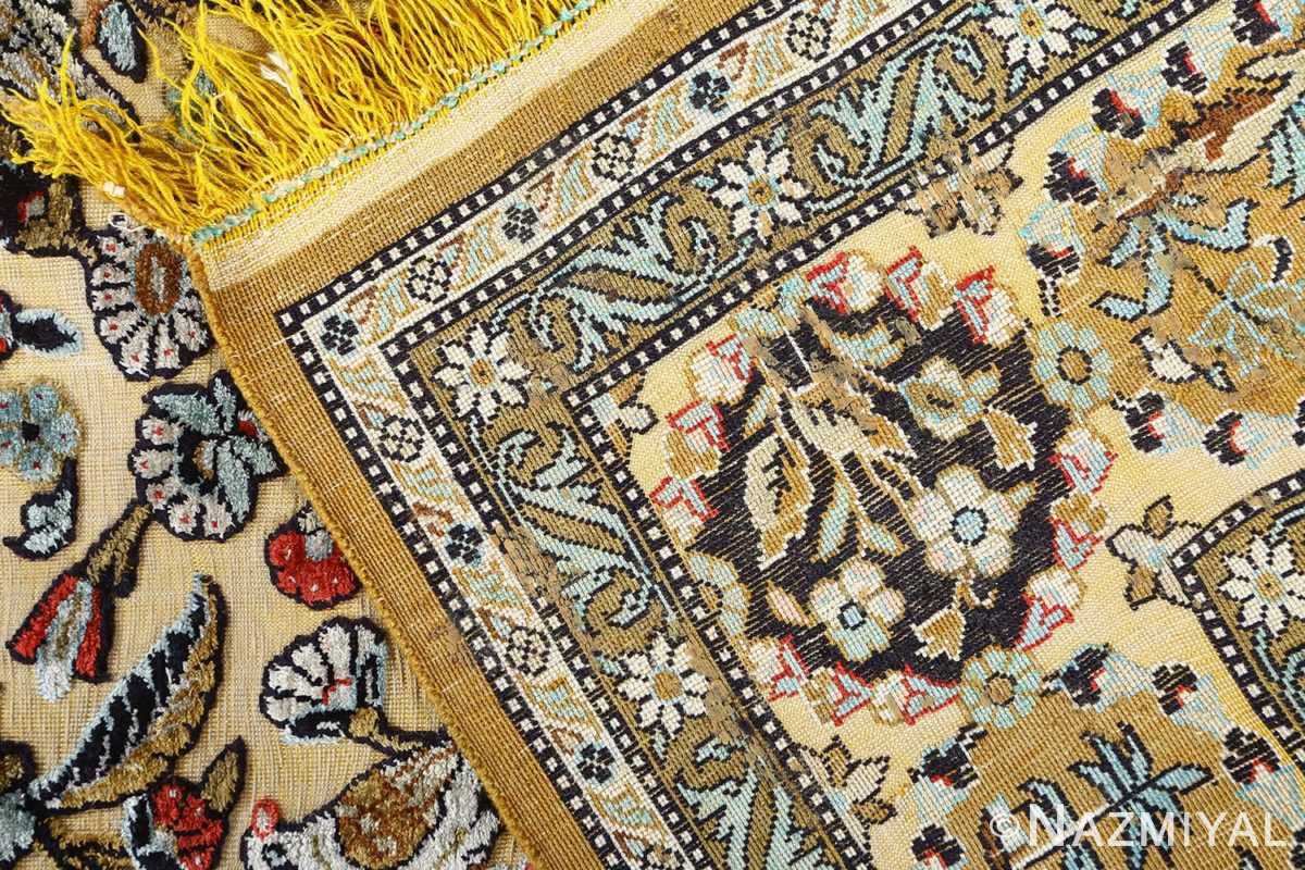 fine tree of life design vintage silk souf qum persian rug 51048 weave Nazmiyal