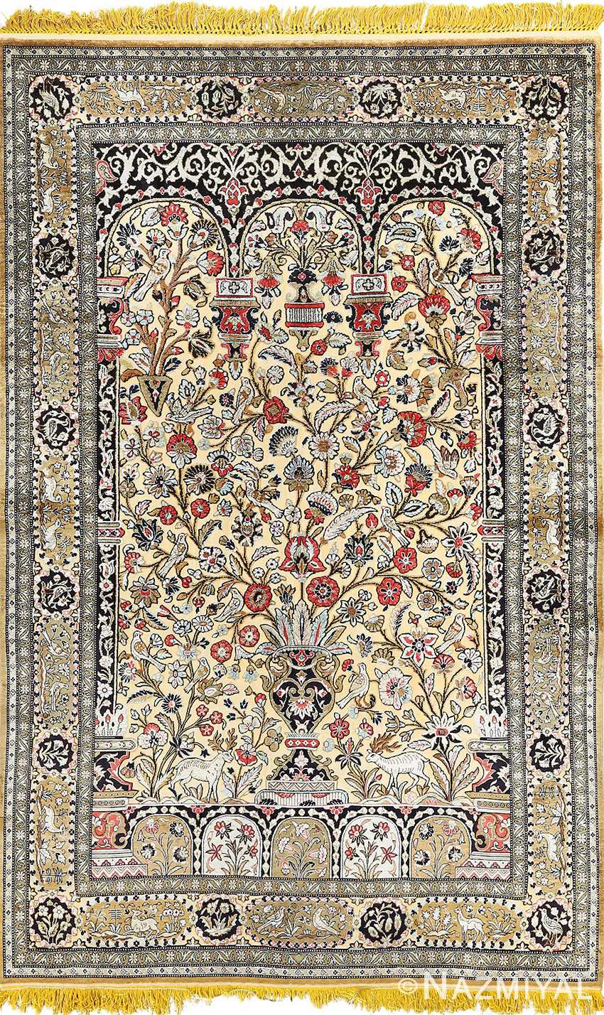 fine tree of life design vintage silk souf qum persian rug 51048 Nazmiyal