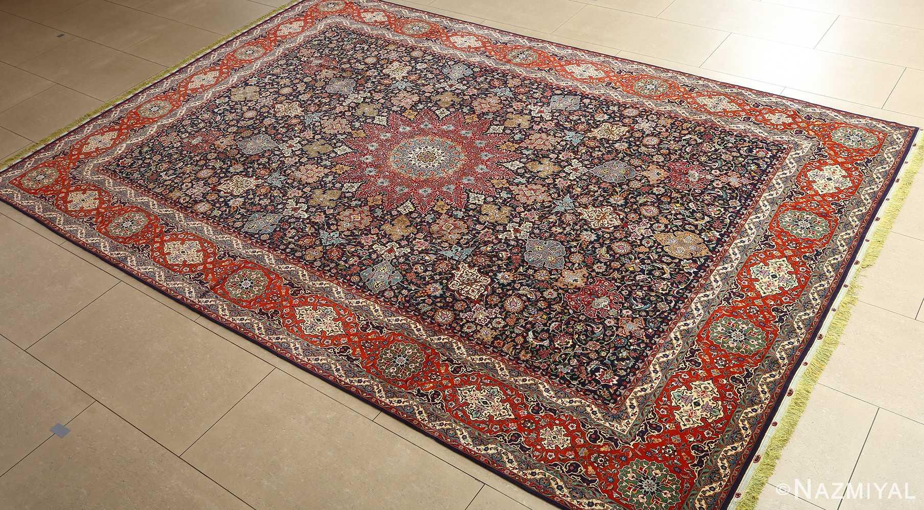 fine zohreh design vintage tabriz persian rug 51047 side Nazmiyal