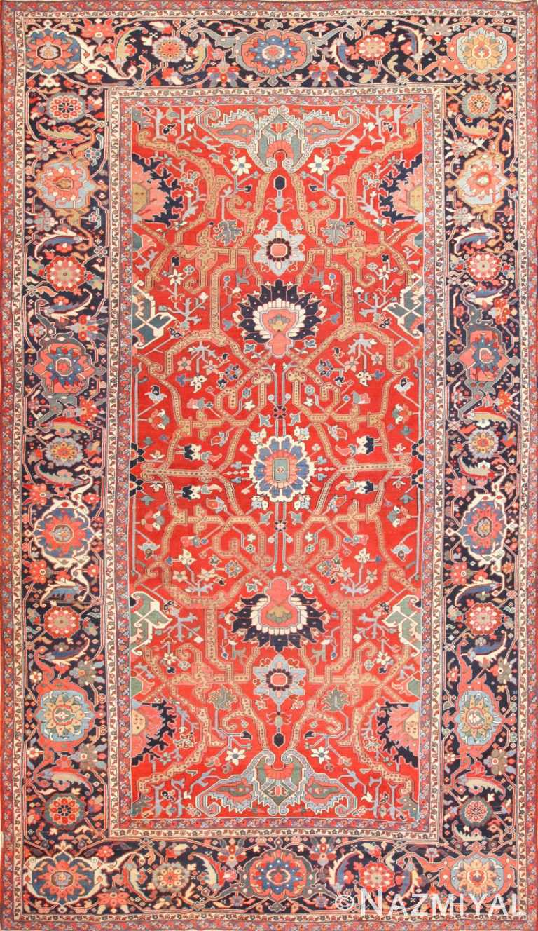 large antique serapi persian rug 49007 Nazmiyal