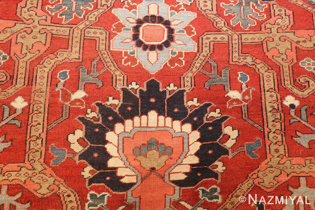 large antique serapi persian rug 49007 design Nazmiyal