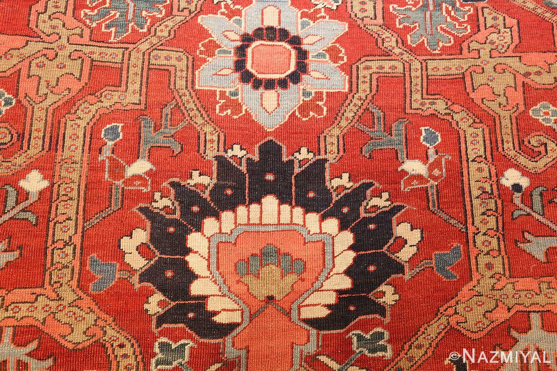 large antique serapi persian rug 49007 design Nazmiyal