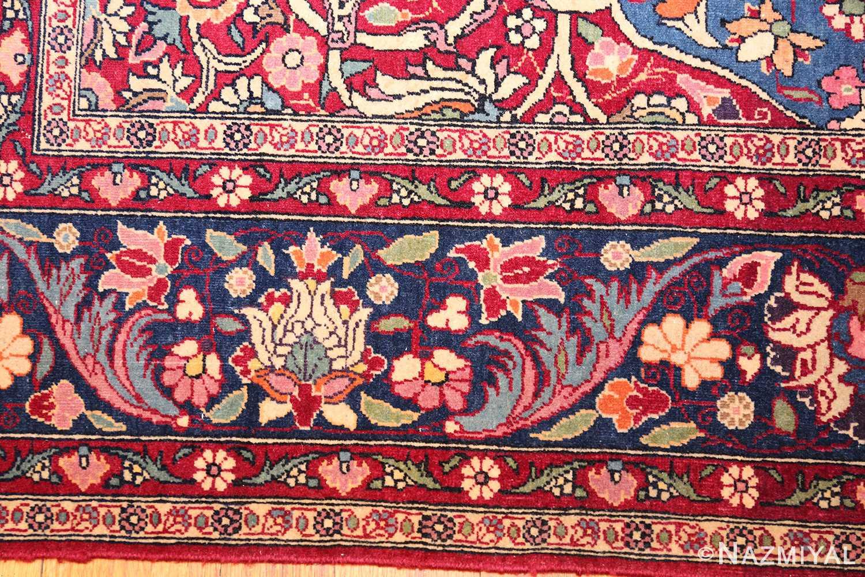 vinatge blue background tehran persian rug 49249 border Nazmiyal