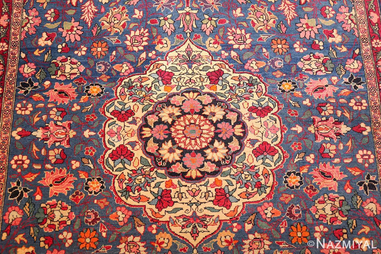 vinatge blue background tehran persian rug 49249 medallion Nazmiyal