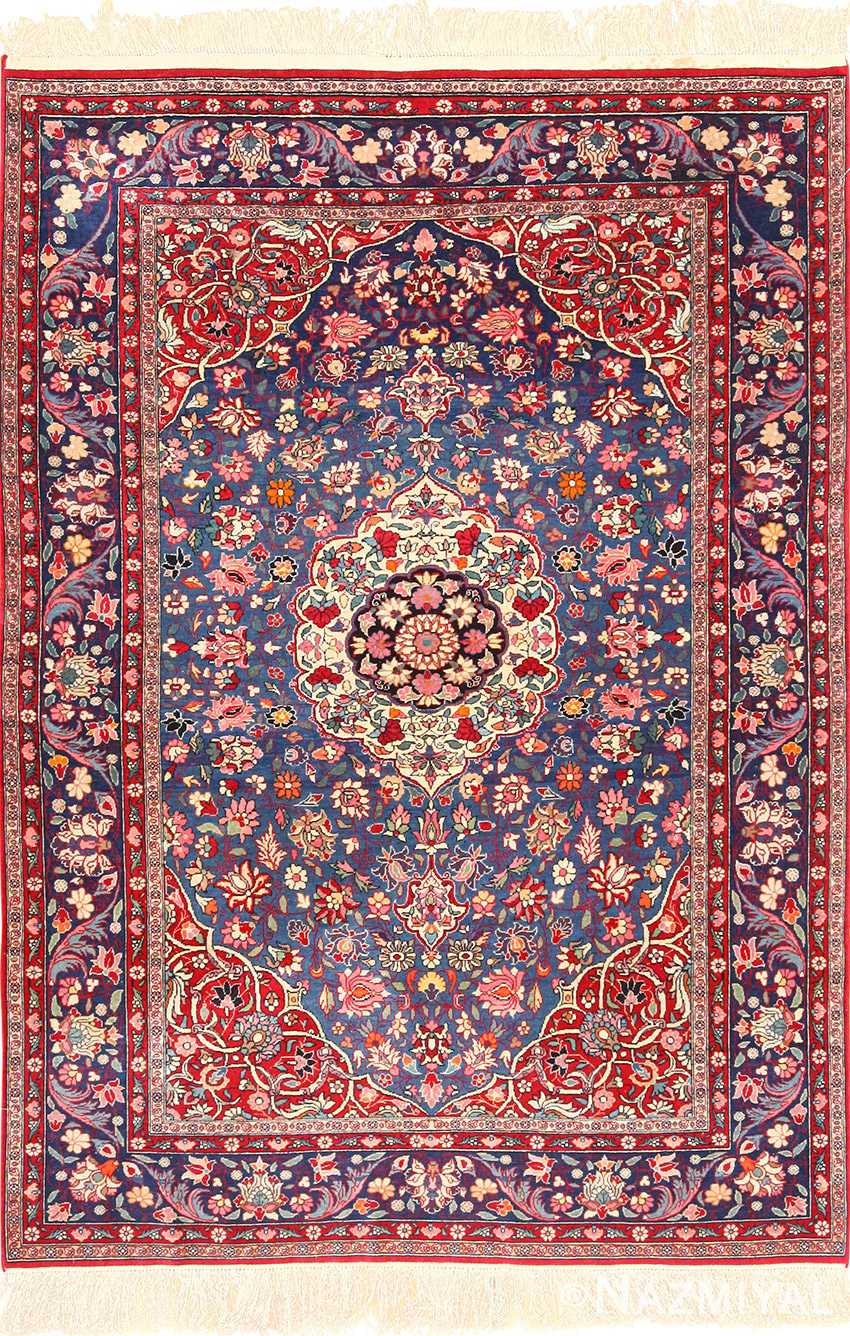 Blue Background Tehran Persian Rug 49249 By Nazmiyal Antique Rugs