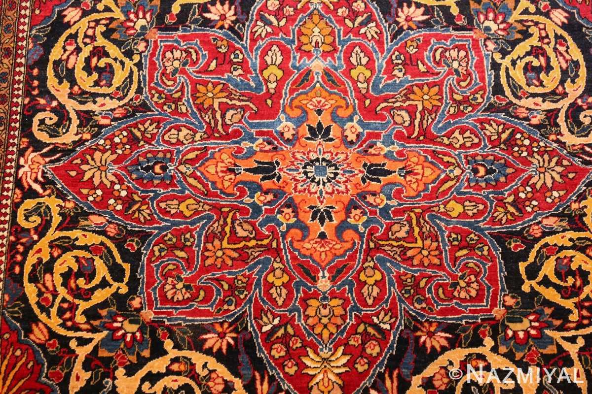 vintage dark background isfahan persian rug 49250 medallion Namziyal