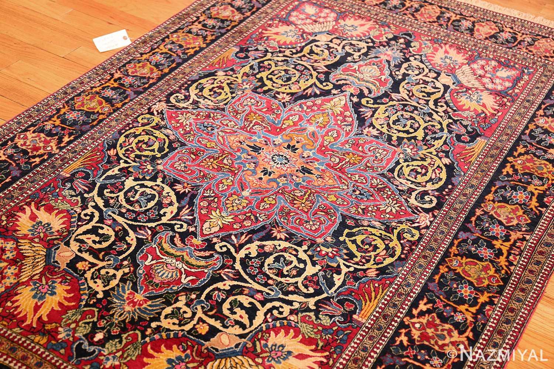 vintage dark background isfahan persian rug 49250 side Nazmiyal