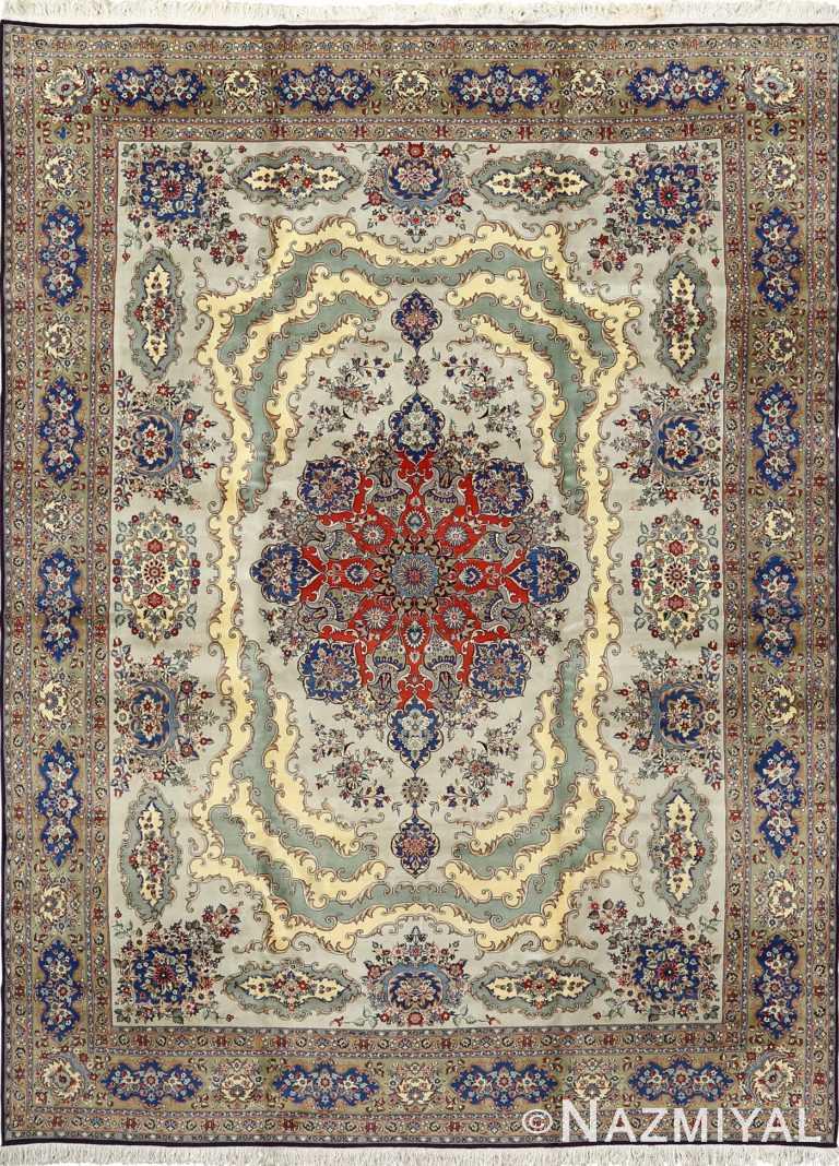 vintage light blue qum persian rug 51062 Nazmiyal
